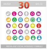 Web colored media and social sign set Stock Images