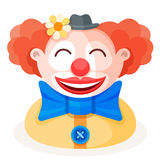 Colorful cartoon happy cute redhead clown character in funny small hat with flower, big bow and red nose. Circus show artist flat. Vector illustration Stock Images