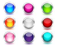 A Web colorida abotoa-se circularmente com reflexão Fotos de Stock Royalty Free