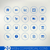 Web and commercial blue icons on light background Stock Photos