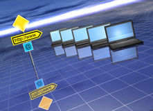 Web concept. Web and mail trafficator by a network laptops - 3d render stock illustration