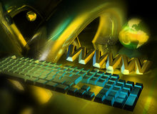 Web concept. WWW, keyboard and globe - 3d abstract render royalty free illustration