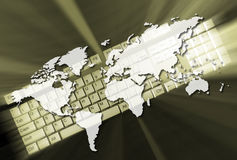 Web concept. Earth map and a keyboard - 3d render royalty free illustration