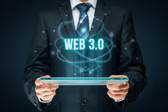 Web 3.0 concept. Web 3.0 modern internet concept. Businessman think how to capitalize web 3.0 trend Stock Photography