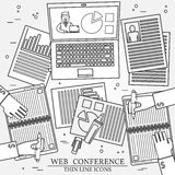 Web conference concept icon thin line for web and mobil Stock Images