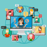 Web conference concept or online Royalty Free Stock Photo