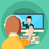 Web conferences meetings and seminars flat illustration. Of online webinars trainings participants abstract isolated  illustration Royalty Free Stock Photography