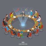 Web conferencing flat isometric low poly vector concept. Business people are sitting at the round table and listening a speaker who shows his report through Stock Photos