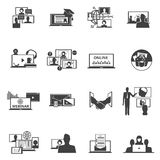 Web conferencing webinar black icons set Royalty Free Stock Photography