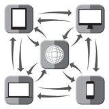 Web Connected Grey Icons Royalty Free Stock Images