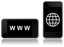 Web-connected smart phone Stock Image