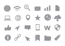 Web connection gray vector icons set Royalty Free Stock Image