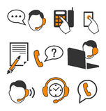Web Consultants with Headphones Call Center Icons Flat Isolated Stock Photos