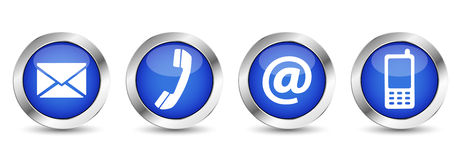 Web Contact Us Buttons. Contact us web buttons set with email, at, telephone and mobile icons on blue silver badge vector EPS 10 illustration  on white