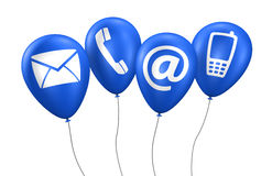 Web Contact Us Icons Blue Balloons Stock Image