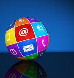 Web Contact Us Icons Globe Stock Image