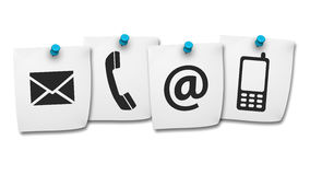 Web Contact Us Icons On Post It Royalty Free Stock Images