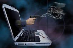 Web crime novel. Illustration of a smoking gun coming out of a laptop vector illustration