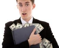 Web-criminal stoles money. Web-criminal with laptop and money on isolated background Royalty Free Stock Image