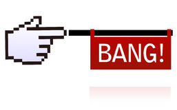 Web cursor hand shooting toy gun. Vector illustration of web cursor hand with flag shut out as from toy gun with text, related to top visited web sites and Royalty Free Stock Images