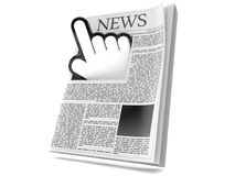 Web cursor with newspaper. Isolated on white background Royalty Free Stock Images