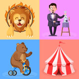 Cute cartoon style set with circus performance actors characters. Trained lion, magician, bear on bicycle,circus tent illustration Stock Image