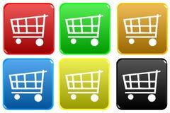 Web d'achats de chariot de bouton Photos libres de droits
