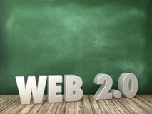 WEB 2.0 3D Word on Chalkboard Background. High Quality 3D Rendering stock illustration