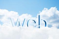 Web da palavra 3d nas nuvens Fotos de Stock Royalty Free