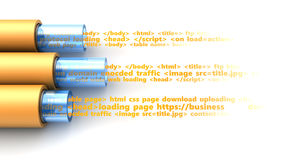 Web data tranfer. 3d illustration of web page data inside cables Royalty Free Stock Photo