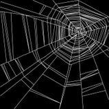 Web de araña blanco aislado en el fondo negro Fotografía de archivo