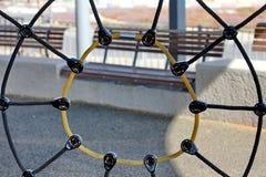 Web de araña de la cuerda en patio Fotos de archivo libres de regalías