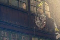 Web de araña en fondo de la casa vieja imagen de archivo