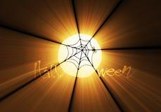 Web de araña en las flamas de Víspera de Todos los Santos stock de ilustración