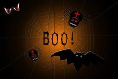 Web de araña con arañas y un palo, con abucheo del texto en el centro Imagenes de archivo