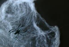 Web de aranha falsificadas no fundo preto Imagens de Stock Royalty Free