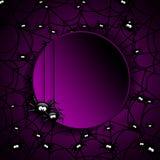 Web de aranhas de Dia das Bruxas com lugar para o texto Imagens de Stock