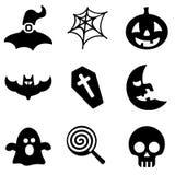 Web de Dia das Bruxas e coleção móvel dos ícones do logotipo Imagem de Stock Royalty Free