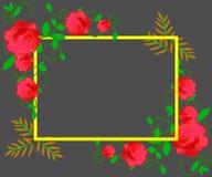 web De huwelijksuitnodiging, dankt u kaardt, sparen de datumkaarten met rood, roze en witte rozen Eps 10 royalty-vrije illustratie