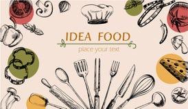 Web de la cubierta del dibujo de la verdura y del artículos de cocina Imagen de archivo libre de regalías