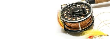 Web de mouche de pêche de drapeau Image libre de droits