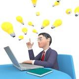 Web de Shows World Wide del hombre de negocios del carácter y representación del ordenador 3d Foto de archivo
