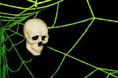 Web del cráneo y de araña en la pared, fantasma el Halloween Fotos de archivo