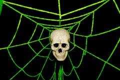 Web del cráneo y de araña, fantasma el Halloween Foto de archivo libre de regalías