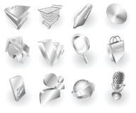 Web del metal y conjunto metálicos del icono de la aplicación ilustración del vector