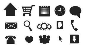 Web del vector e iconos y botones de las multimedias Imágenes de archivo libres de regalías