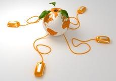 Web dell'arancio del mondo Immagine Stock Libera da Diritti