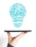 Web della compressa di affari della lampadina di idea Immagini Stock Libere da Diritti