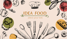 Web della copertura del disegno dell'articolo da cucina e della verdura Immagine Stock Libera da Diritti