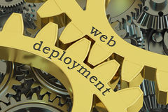 Web Deployment concept on the gearwheels, 3D rendering. Web Deployment concept on the gearwheels Royalty Free Stock Images